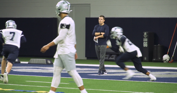 Image of Cowboys Players practicing and Kellen Moore Coaching