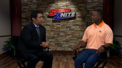 Image of Hector Ledesma sitting down with Frank Wilson in studio