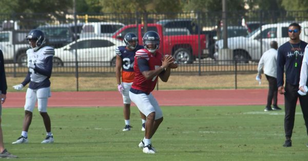 Image of Frank Harris during UTSA football practice