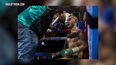 Image of boxer Maxim Dadashev taking a break in corner