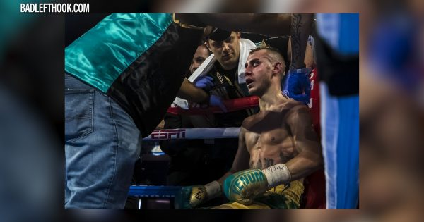 Image of boxer Maxim Dadashev taking a break in corner