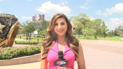 SPORTS2NITE CORRESPONDENT TALKING AT KYLE FIELD