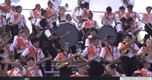 Image of Burbank Bulldogs band performing in stands