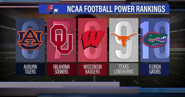 Image of NCAAF power rankings graphic showing ranks 6 through 10