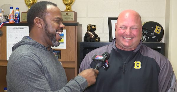 Image of Marcus Floyd interviewing coach Steve Basore