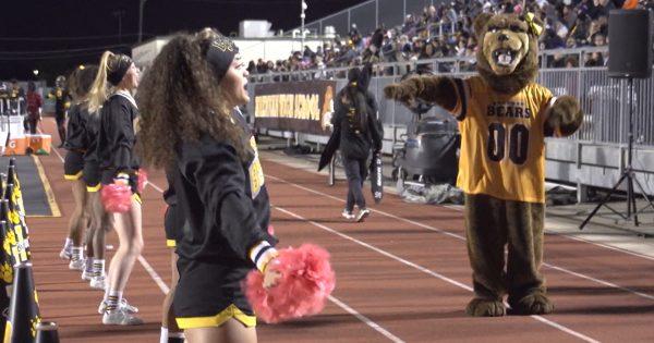 Image of Brennan Bears cheer squad and mascot dancing