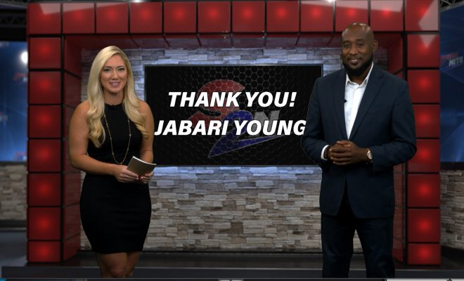 Image of Jabari Young getting interviewed by Jill Jelnick