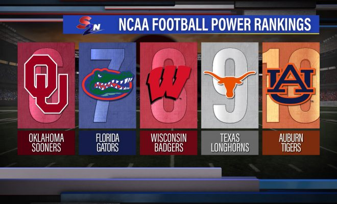 Image of power rankings graphic showing ranks 6 through 10