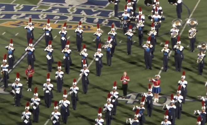 Image of Veterans Memorial high School band on the field