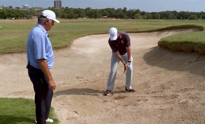 image of golfers in bunker showing how to recoil shot