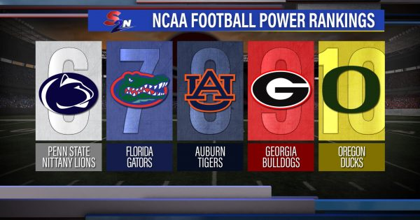 Image of NCAA football power rankings graphic showing ranks 6 through 10