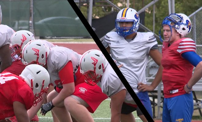 image of high school football teams, judson rockets on one side and Clemens buffaloes on the other