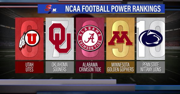 Image of a full screen graphic showing ranks 6 though 10 of college football