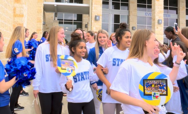 Image of Clemens volley ball team during send off to state after pep rally to state tournament