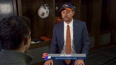 Image of new UTSA football head coach getting interviewed