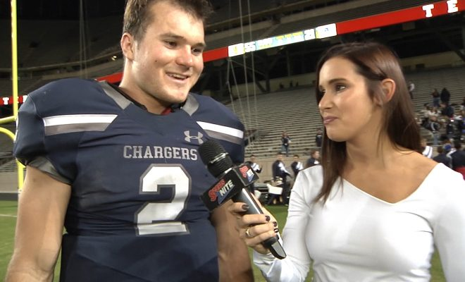 Image of Koral interviewing Boerne Chargers football player