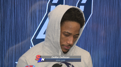 Image of DeMar DeRozan getting interviewed after game