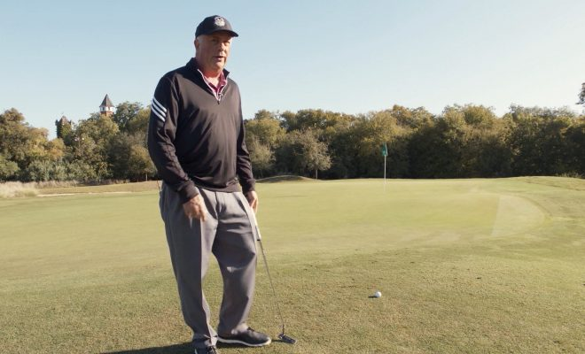 Image of Andy Everett standing on the fairway of Landa Park golf course looking towards camera